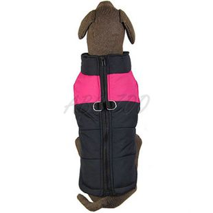 Kutyakabát nagy kutyára, fekete - rózsaszín, L-XS