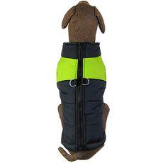 Nagyméretű kutyakabát, fekete - zöld, L-XS