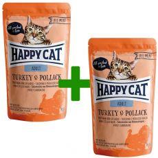 Happy Cat ALL MEAT Adult alutasakos eledel Turkey & Pollack 85 g 1+1 AJÁNDÉK