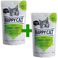 Happy Cat MEAT IN SAUCE Adult alutasakos eledel Lamb & Liver 85 g 1+1 AJÁNDÉK