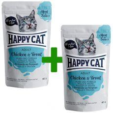 Happy Cat MEAT IN SAUCE Adult alutasakos eledel Chicken & Trout 85 g 1+1 AJÁNDÉK