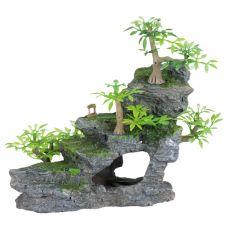 Akvárium dísz - kő lépcső növénnyel