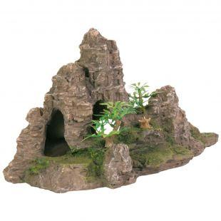 Szikla dekoráció barlanggal és növénnyel