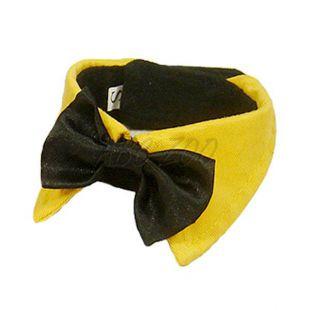 Csokornyakkendő kutyáknak - fekete, sárga gallérral, L