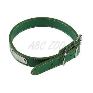 Bőr kutyanyakörv - zöld, 30 cm