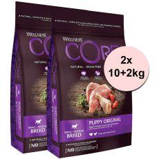 Wellness CORE Dog S/M Kölyökkutya Pulyka és Csirke 2 x (10+2 kg)