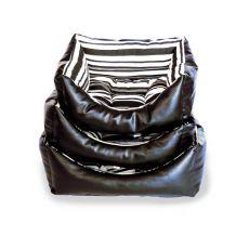 Kutyaágy bőrből - fekete, téglalap forma, S