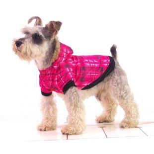 Kutyakabát - kockás, rózsaszín, S