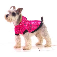 Kutyakabát - rózsaszín, kockás minta, L
