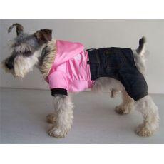 Kutya kezeslábas - fényes rózsaszín és farmer, XXL