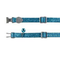 Nyakörv cicáknak, kék csillámok, 18 - 30 cm