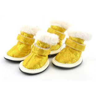 Kutya cipőcske arany színben, hímzett, 5-ös méret