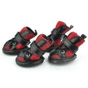 Kutyacipő - hálós, piros és fekete, 2-es méret