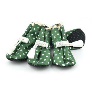 Kutyacipő - zöld, pöttyös, 1-es méret