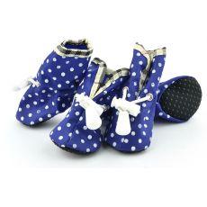 Kutyacipő - kék, pöttyös, 2-es méret