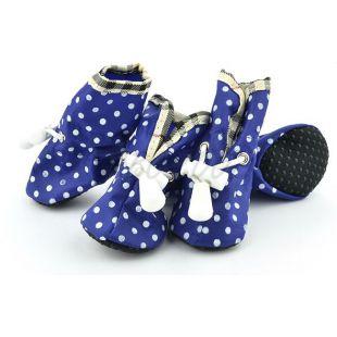 Cipő kutyának - kék, pöttyös, 4-es méret
