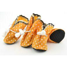 Cipő kutyának - narancssárga, pöttyös, 2-es méret
