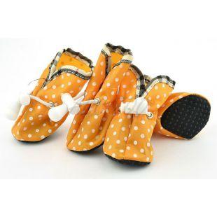 Kutya cipő - narancssárga, pöttyös, 4-es méret