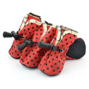 Kutya cipőcske - piros, fekete pöttyös, 1-es méret