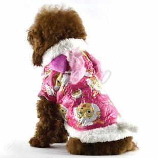 Széldzseki kutyáknak - rózsaszín, bárány figurás, L