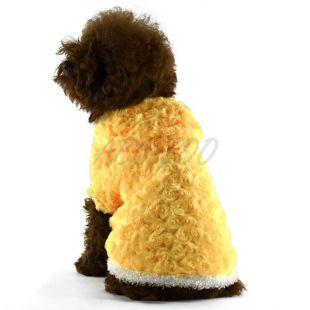 Kabát kutyusnak, kapucnis - sárga, rózsás, M