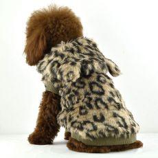 Műszőrme kutyakabát - kapucnis, leopárd mintás, XL