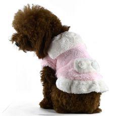 Kutyakabát, rózsaszín - fehér, galléros, XXL