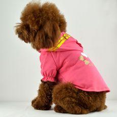 Póló kutyáknak, kapucnis - rózsaszín, feliratos, XXL