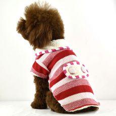 Kötött kutyapulóver - piros gyapjú pulcsi, XL