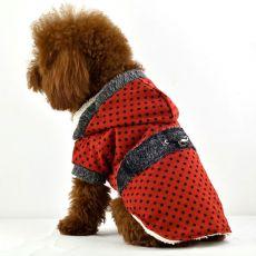 Kutya kabát, szőrmés - piros, pöttyös, XL