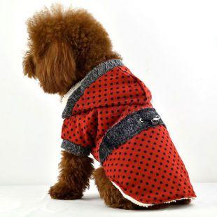 Kutyakabát, szőrmés - piros, pöttyös, XXL