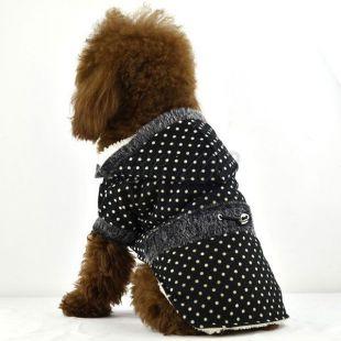 Kabát kutyának, szőrmés - fekete, pöttyös, XS