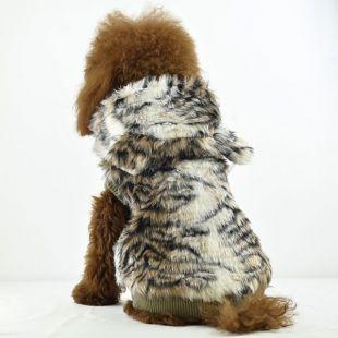 Műszőrme kabát kutyának - kapucnis, tigris mintás, L