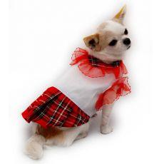 Kutyaruha lányra - fehér póló piros szoknyával, XL