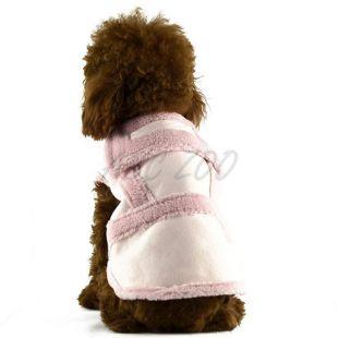 Kabát kutyusnak - velúr, rózsaszín, XL