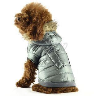 Kabát kutyáknak - fényes szürke, szőrmés, L