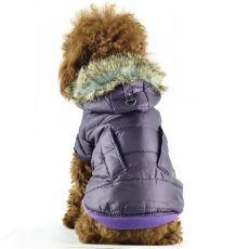 Kabát kutyának - fényes lila, szőrmés, XS