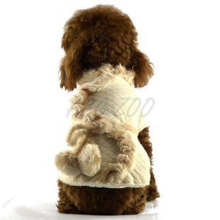 Kabát kutyának - bézs, szőrmés, S