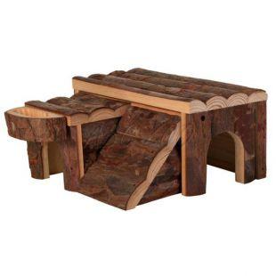 Rágcsáló házikó fából, 14 x 7 x 14 cm