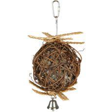 Csengős labda madaraknak - fonott, 10 cm