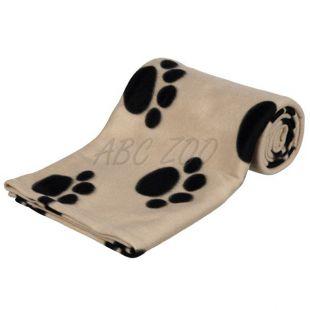Pokróc kutyának, cicának - bézs, mancs mintás, 150 x 100 cm