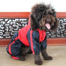Piros - fekete színű overál kutyáknak, vízhatlan, M