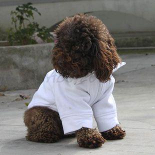 Fehér kutyapulóver, cipzárral, L