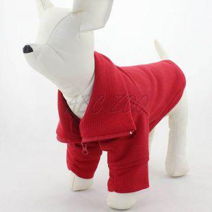 Kutyuspulóver, cipzáras - piros, XL