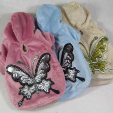 Kutyapulóver, pillangó mintás - plüss, kék, S