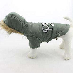 Kapucnis szélkabát kutyusoknak - oliva zöld, XXS