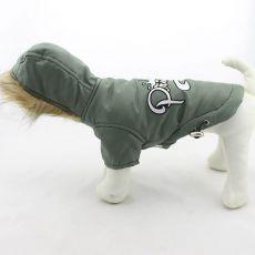 Viharkabát kutyák számára, kapucnival - oliva, L