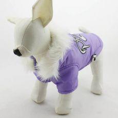Viharkabát kutyáknak, kapucnis - lila színű, L