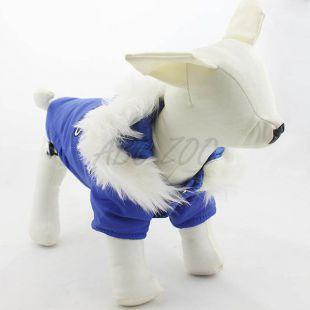 Szélkabát kutyusoknak, kapucnis - kék, XS