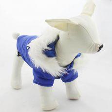 Kutya télikabát kapucnival - kék, XL